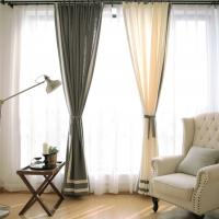 China 100% Linen Cotton Window Curtains , Country Style Grey And White Curtains wholesale