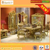China (BK0109-0010)Luxury Italian Palace Wooden Hand Carved Mother of pearl inlays with gold leafs Long Dining Table and Chair wholesale
