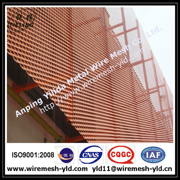 Anodized red color aluminum expanded metal for wall facade/cladding 2