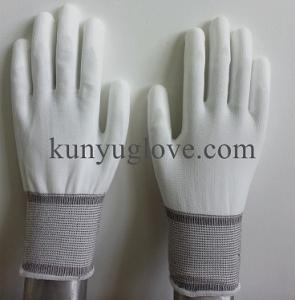 China 13 Guage white nylon liner with white pu coating antistatic glove wholesale