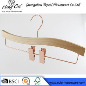 Buy cheap Rose gold wooden hanger pants hanger trousers hanger bottom hanger from wholesalers