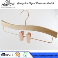 China Rose Gold Wooden Trouser Hangers With Clips / 30 ~ 36cm Bottom Hangers wholesale