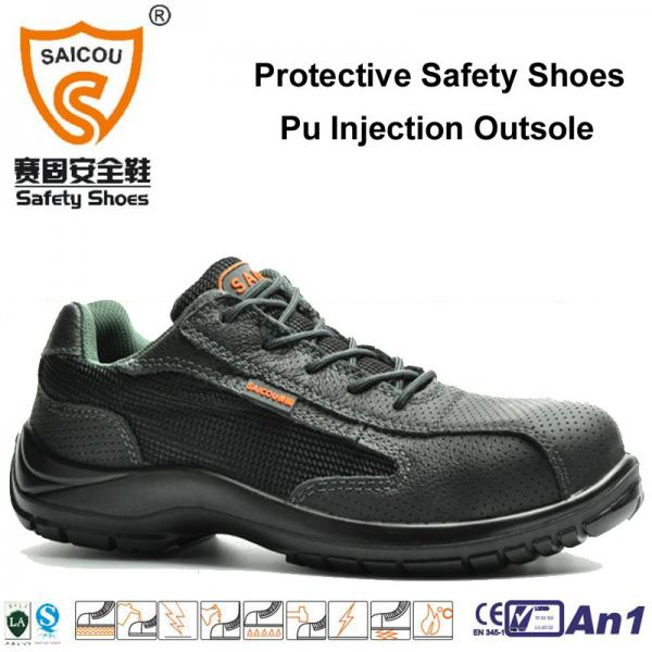 Quality sport work shoes with steel toe cap and steel plate guangzhou safety shoes factory for sale