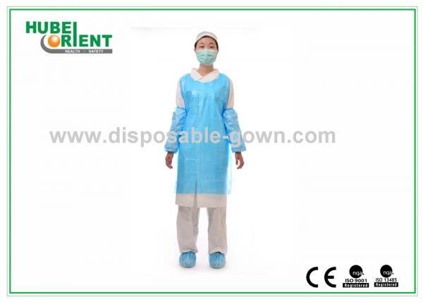Quality Eco Friendly Blue Disposable Aprons With Embossed / Smooth Surface for sale
