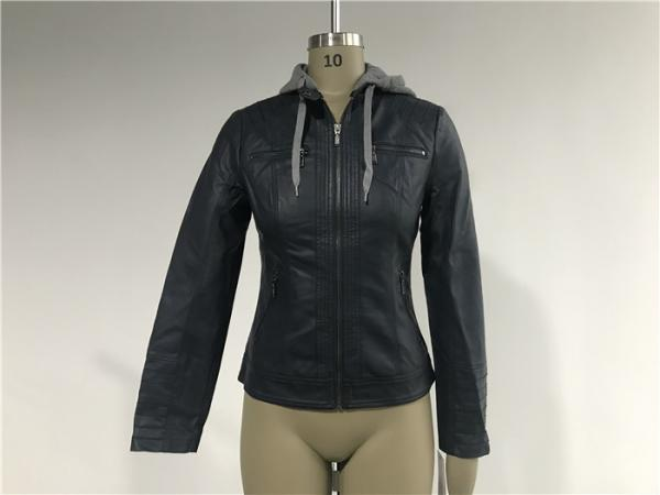 Quality Cool Design Ink Ladies PU Jacket With Grey Melange Detachable Hooded TW77349 for sale