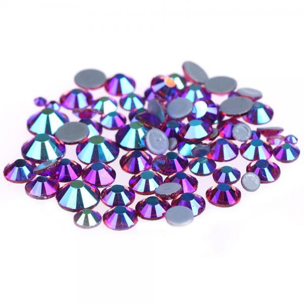 Quality 14 / 16 Facets Small Rhinestone Studs , Glass Material Pink Loose Rhinestones for sale