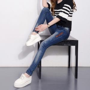 Durable Dark Blue Womens Slim Straight Leg Jeans Mid Waist Slim Fit