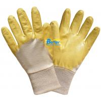 China 100% Cotton Interlock Shell With High Quality Yellow Lightweight Nitrile Coated Work Gloves on sale