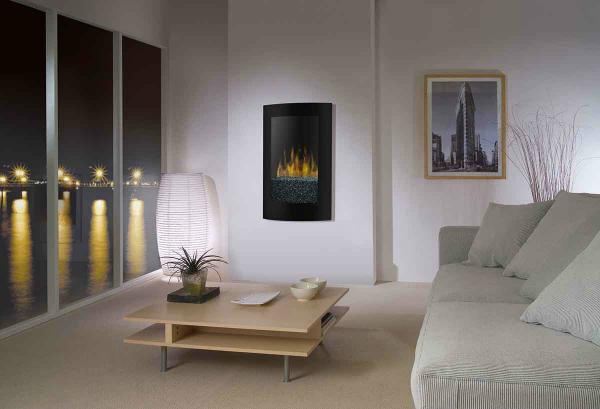 Quality Black Curved Tempered Glass Standing Wall Mounted Electric Fireplace Heater(sliver sand) WF-1323 LED flame effect for sale