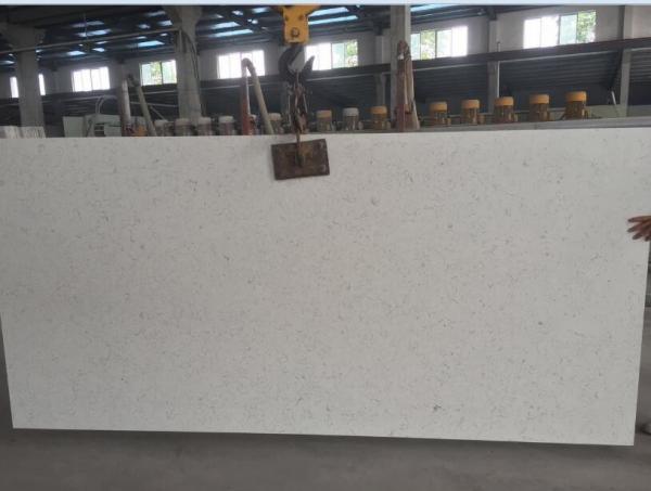 Quality Large White Mirror Quartz Floor Tiles , Solid White Quartz Countertops Slab for sale