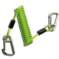China Plastic TPU Coiled Tool Lanyard Double Stainless Steel Carabiner Hooks Green Color on sale