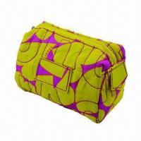 China Fabric cosmetic bag/beauty case, made of TC printed cotton and cotton lining wholesale
