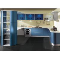 China Blue Lacquer Finish Painted Kitchen Cabinets Contemporary Style Hotel Project on sale