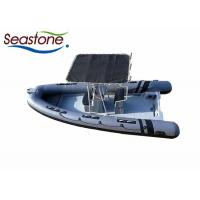 China Hard T Top Rigid Hulled Inflatable Boat Dark Grey PVC Tubes Stainless Steel Material wholesale