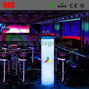 China Led high Cube Glass table luminous table PE table on sale