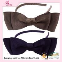 China Brown Grosgrain Ribbon Blittle girl headbands With Plastic Hair Band For Girls wholesale