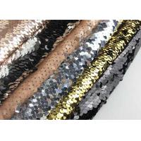 China Black / Sliver Double Sided Colorful Sequin Fabric Reversible Two Tone Satin Rose on sale