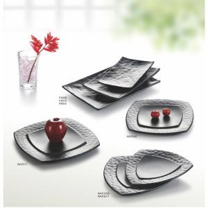 China Porcelain Dinnerware Sets / Melamine Black Matte Dinner Set Plate Unique Shape wholesale