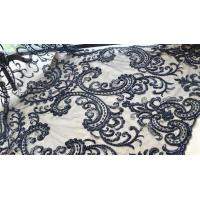 China Black Heavy Beaded Mesh Fabric By The Yard , Embroidered Net Fabric With Beads wholesale