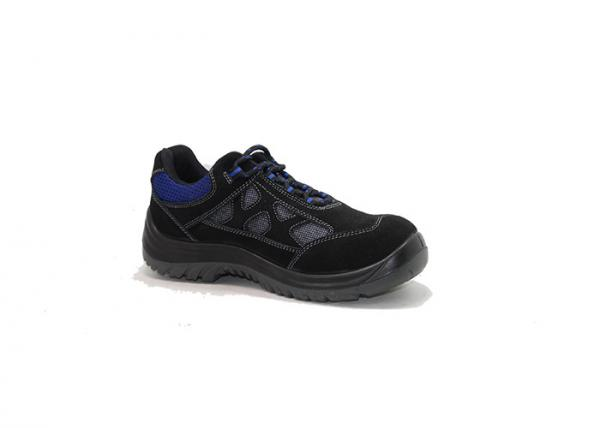 Quality black suede leather and mesh rubber outsole cemented safety shoes for sale