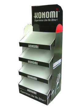 Quality MDF 4 Layer Full Color Cardboard Display Stands For Clothing Promotion for sale