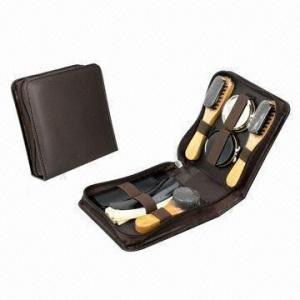 China Shoe shine set, made of PU leather and wood wholesale