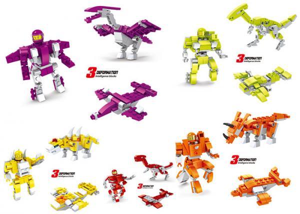Quality Transformer Dinosaur Robot Plastic Interlocking Building Blocks 6 Styles Convertable for sale