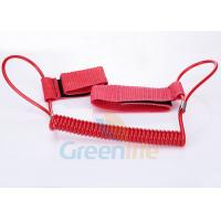 China 1.5M Long Quality Red Plastic Spring Coil Fishing Lanyard With Velcro Strap 2pcs wholesale
