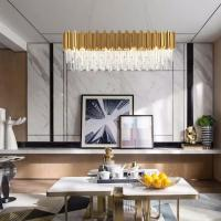 Buy cheap Gold Rectangle Drop Crystal Pendant Lamp For House Living room Bedroom Lighting from wholesalers