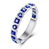 China Natural Gemstone Gold Jewelry Blue Sapphire Eternity Band Ring For Engagement on sale