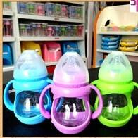 China 150ml glass baby bottle with handle and cover on sale