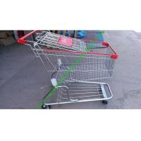 China Zinc Plated Wire Shopping Trolley Cart 4 Wheels Heavy Loading For Store wholesale