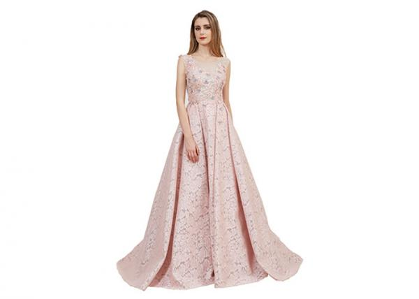 Quality Luxury Dusty Pink Prom Party Dress / Backless V Neck Arabic Bridesmaid Dresses for sale