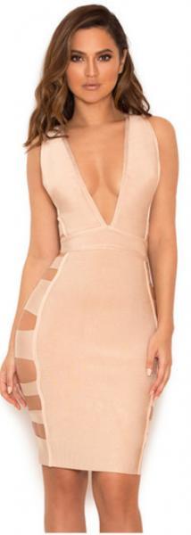 Quality Anti - Static Deep V Bandage Dress Nude , Clubwear Bandage Dresses For Plus Size for sale