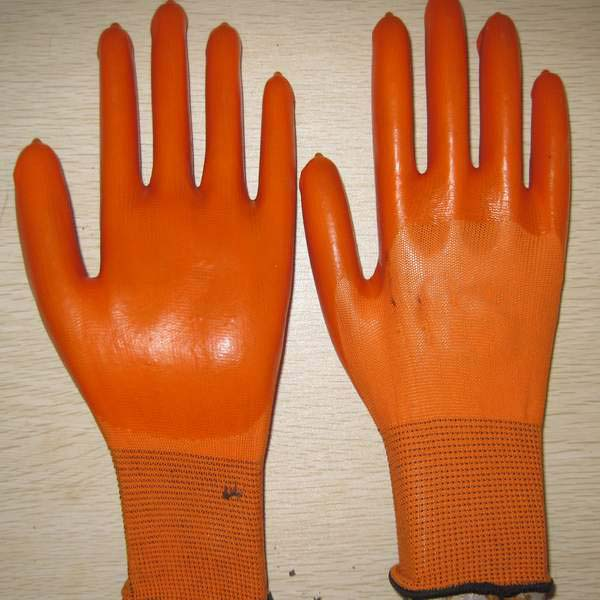 Quality yellow PVC coated working gloves PG1511-8 for sale