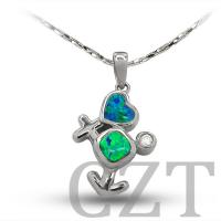 China sterling silver925 jewelry necklace pendant with synthetic opal wholesale