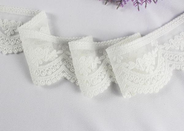 Quality Ivory Cotton Vintage Embroidered Lace Trim , Wedding Dress Scalloped Lace Ribbon for sale