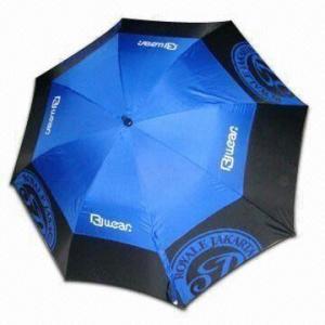 China Double-layer Windproof Golf Umbrella with 14mm Black Fiberglass Shaft, Auto Open wholesale