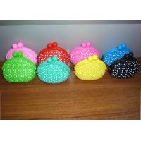 China polka dots silicone small coin purse with aser graved logo for adverting promotion gift on sale