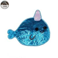 China Reversible Cute Large Sequin Patches , Blue Unicorn Whale Iron On Patch wholesale