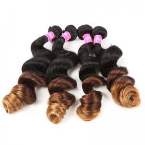 Buy cheap Vague lâche 1B/4/27 de cheveux brésiliens de prolongements de cheveux de Remy Ombre de ton de la blonde 3 from wholesalers