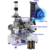 China Semi Automatic Labeling Machine for Round Bottle Vial Glass Jar Can Label Sticking Machine for Sanitizer wholesale
