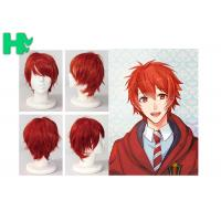 Charming Wigs Synthetic Hair Short Wavy Red Synthetic Cosplay Wigs Costume Party Wigs Cap