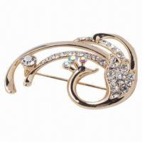 China Silver Alloy Pearl Brooch, Fashionable, Ideal for Women wholesale