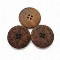 Quality 100% Natural Laser Wooden Buttons, Customized Designs are Accepted for sale