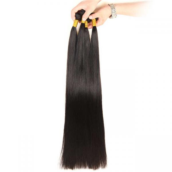 Quality 32-40 Inch Virgin Brazilian Straight Hair Bundles No Tangle Natural Black Color for sale