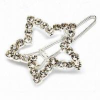 China Star-shaped Hair Clip with Silver/Gold/Gun Black Plating, Made of Zinc Alloy and Rhinestones on sale