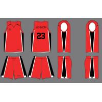 China White / Red / Black Breathable Sublimated Custom Basketball Team Uniforms on sale