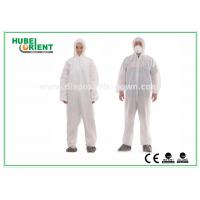 China Type 5 / 6 Disposable Coveralls with Hood Splash Proof SMS Chemical Coveralls wholesale