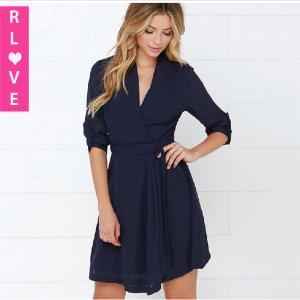 China Fashion high waist dress hedging V-neck bandage dress fifth sleeve chiffon women dresses wholesale